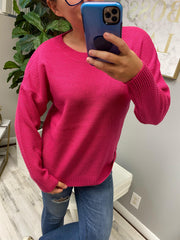 Trina Basic Sweater - Hot Pink