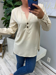 Gina Roll Tab Tunic Top - Oatmeal