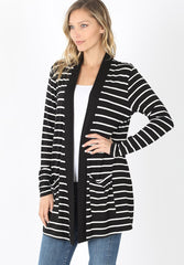 Striped Slouchy Pocket Open Cardigan - Black/Ivory
