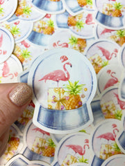 Tropical Flamingo Snowglobe Vinyl Sticker
