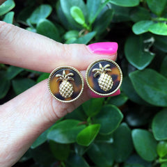 Signature Tortoise Pineapple Icon Studs