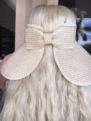 Packable Sun Visor with Bow - Natural