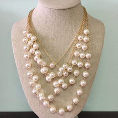 Cora Layered Necklace - Pearl