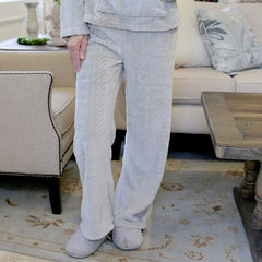 Plush Fleece Lounge Pants - Gray/White