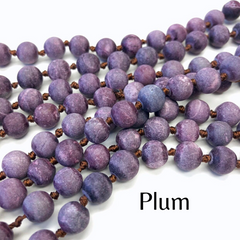 Riley Semi Precious Long Beaded Necklace - Plum