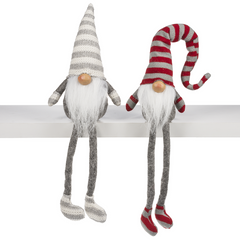 Grey & Red Gnome Shelf Sitters