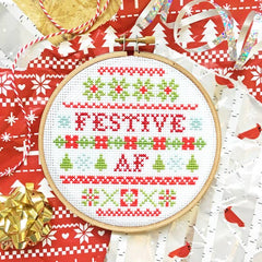 'Festive AF' Cross Stitch Kit
