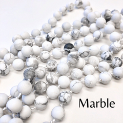 Riley Semi Precious Long Beaded Necklace - Marble