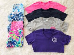 Monogrammed Favorite V-Neck Tee (3-4 Week Production Time)
