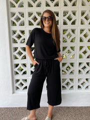Raglan Sleeve Capri Jumpsuit - Black