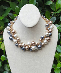 Pearl Bauble Necklace in Champagne and Gray