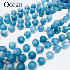 Riley Semi Precious Long Beaded Necklace - Ocean