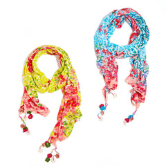 Floral Print Scarf with Hanging Flowers - Choice of Color