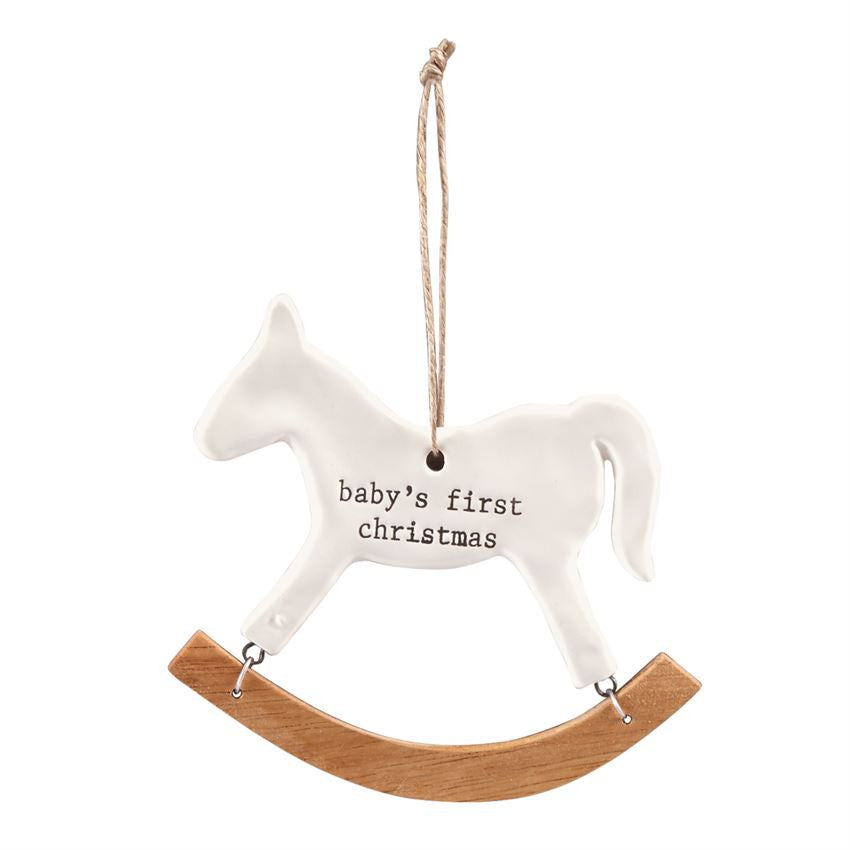 Babys First Christmas Rocking Horse Christmas Ornament by Mud