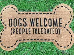 Dogs Welcome' Dog Bone Doormat by Mud Pie