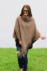 Abigail Cowl Neck Poncho - Taupe