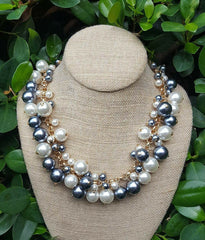 Molly Pearl Bauble Necklace - Oxford Gray