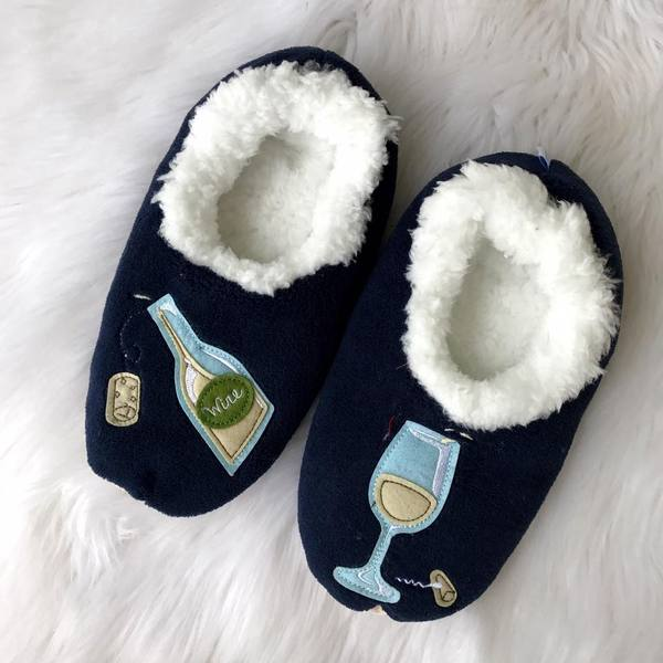 440232ea27f ... White Wine House Slippers in Navy by Snoozies · Prep Obsessed ...