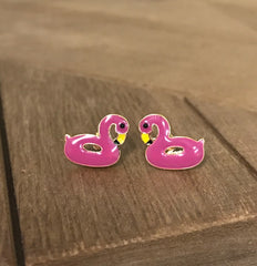 Flamingo Float Signature Enamel Studs by Prep Obsessed