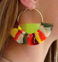 Bernadette Tassel Hoop Earrings