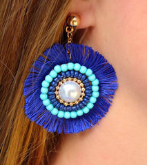 Maya Fringe Medallion Statement Dangle Earrings