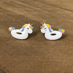 Unicorn Floatie Signature Enamel Studs by Prep Obsessed