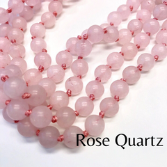 Riley Semi Precious Long Beaded Necklace - Rose Quartz