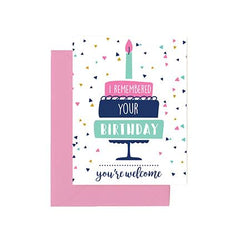 I remembered your birthday, you're welcome birthday greeting card