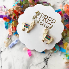 Llama Enamel Stud Earrings at Prep Obsessed