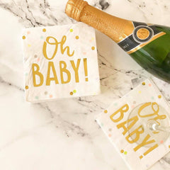 'Oh Baby!' Gold Foil Confetti Cocktail Napkins