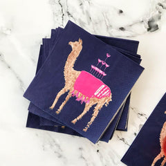 Llama Cocktail Napkins by Evelyn Henson
