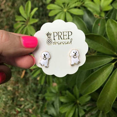 Signature Pet Enamel Studs by Prep Obsessed - White Dog