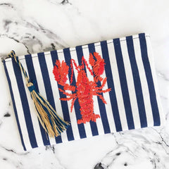 Lobster Flat Zip Pouch with Tassel