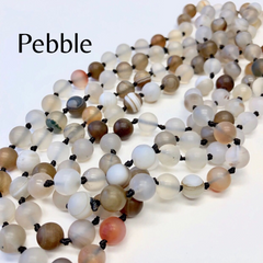 Riley Semi Precious Long Beaded Necklace - Pebble