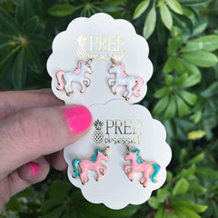 Enamel Unicorn Studs - Choice of Colors