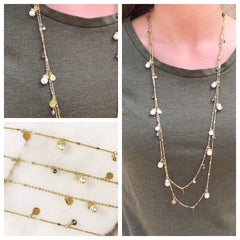 Kirstin Double Layered Pearl Dangle Necklace