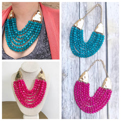 Quinn Multi Layered Beaded Bib Necklace
