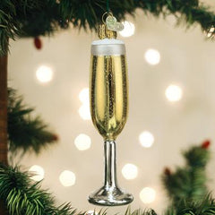 Glass Blown Ornament - Champagne Flute