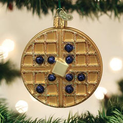Glass Blown Ornament - Waffle