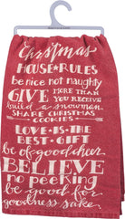 Christmas Rules Dish Towel by Primitives by Kathy