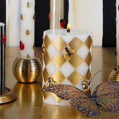 Harlequin Bee Pillar Candle - Gold by Mackenzie Childs
