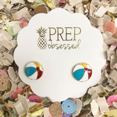 Beach Ball Enamel Stud Earrings by Prep Obsessed