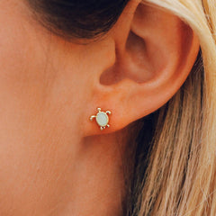 Sea Turtle Stud Earrings by Pura Vida - Gold