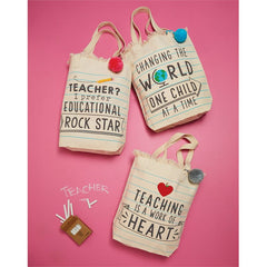 Pom Pom Teacher Tote by Mud Pie - Choice of Style