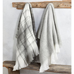 Gray White Plaid Throws by Mud Pie - Choice of Color