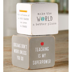 Teacher Sentiment Blocks by Mud Pie - Choice of Color