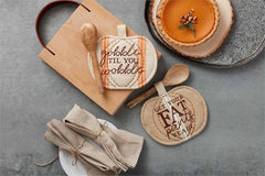 Pumpkin Pot Holder & Spoon Set by Mud Pie - Choice of Saying