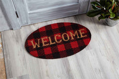 Welcome Buffalo Check Door Mat by Mud Pie
