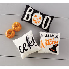 Small Hooked Halloween Pillows by Mud Pie - Choice of Saying