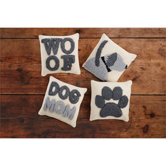Small Canvas Hook Dog Pillow by Mud Pie - Choice of Design